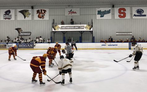 In a file photo from 2017, Lindenwood Lions face off against the Iowa State University Cyclones on Oct. 14 at the Wentzville Ice Arena. <br> Photo by Madeline Raineri.