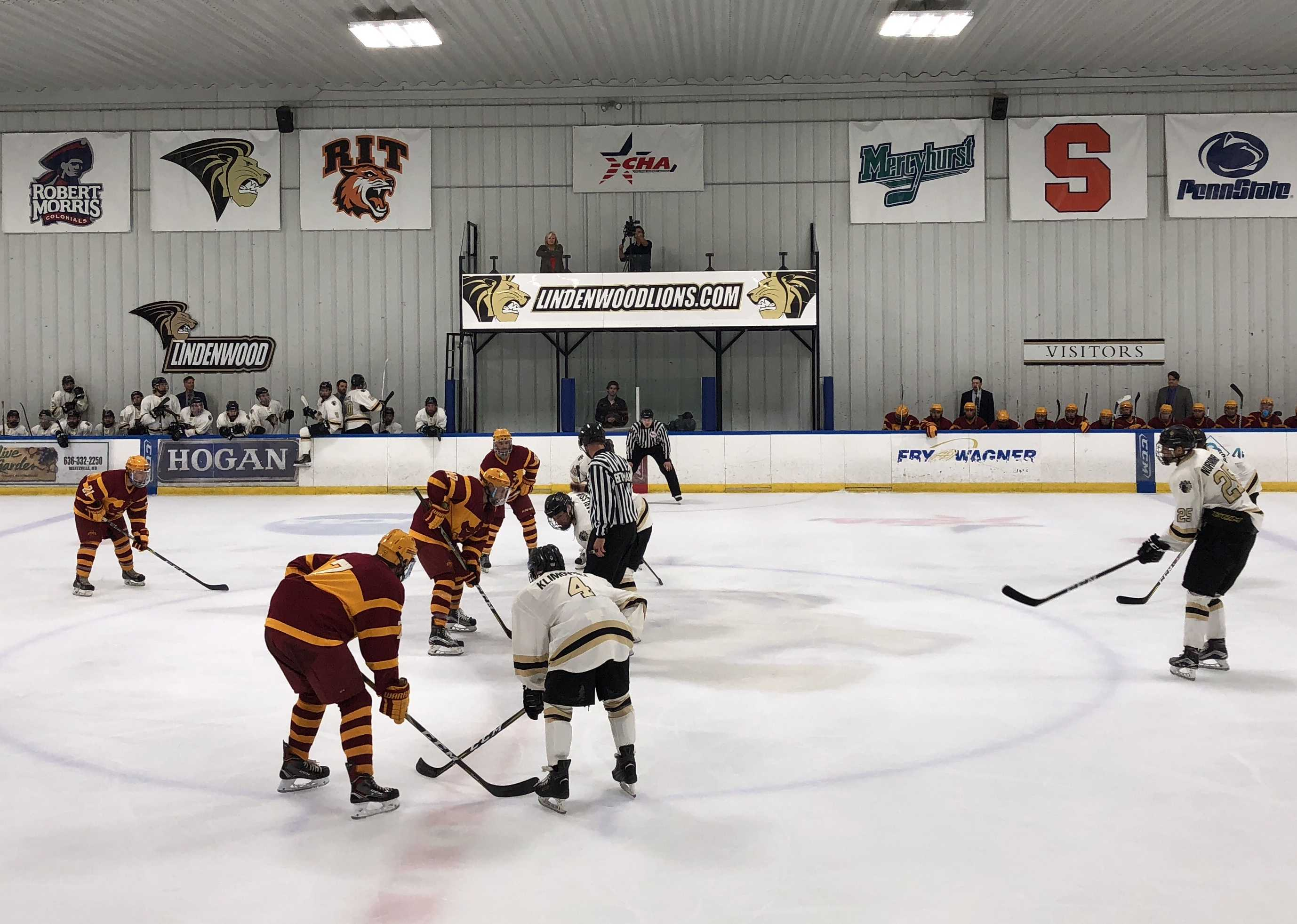 In a file photo from 2017, Lindenwood Lions face off against the Iowa State University Cyclones on Oct. 14 at the Wentzville Ice Arena.  Photo by Madeline Raineri.