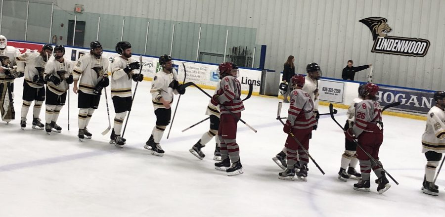 The+Lindenwood+Lions+shake+hands+with+the+University+of+Oklahoma+Sooners+after+their+weekend+sweep+at+the+Wentzville+Ice+Arena.+The+Lions+won+both+games%2C+the+first+game+4-1+and+the+second+game+8-0.++Photo+by+Madeline+Raineri.