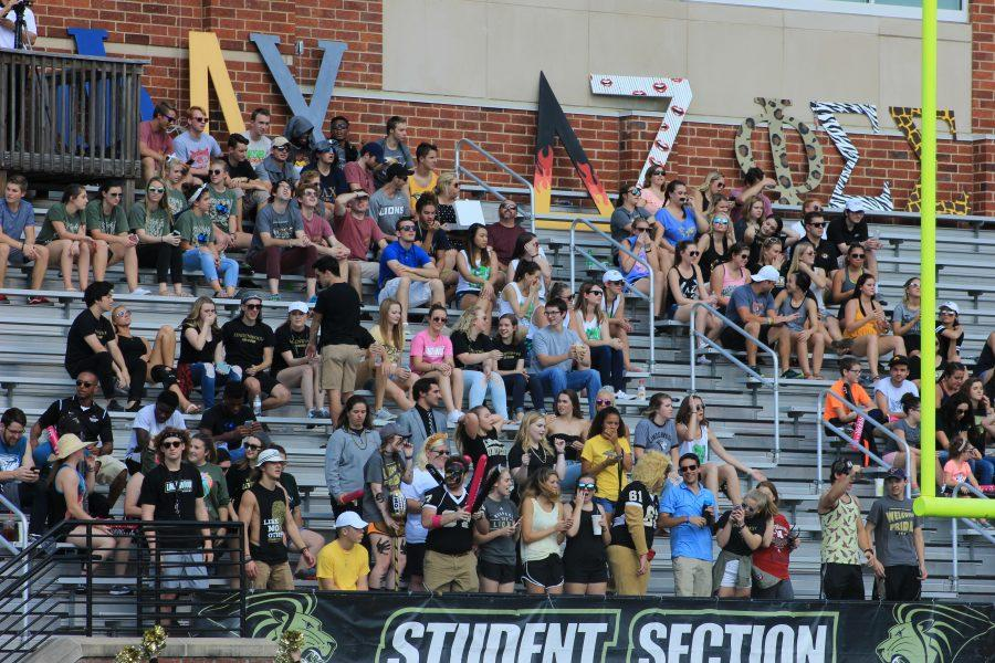 The student section cheers on the Lindenwood football team at the homecoming game on Oct. 14.  Photo by Lindsey Fiala