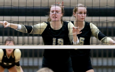 Lindenwood women's volleyball players Sadie Kosciuk (#16) and Alex Dahlstrom (#19) during the Lions win over Southwest Baptist on Saturday Oct. 7. Kosciuk led the Lions in kills with a career-high 14. <br> Photo by Don Adams Jr.