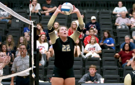 Lindenwood volleyball player Ivy Reynolds (#22) sets the ball for Sadie Kosciuk (#19) in Hyland Arena. <br> Photo by Don Adams Jr.
