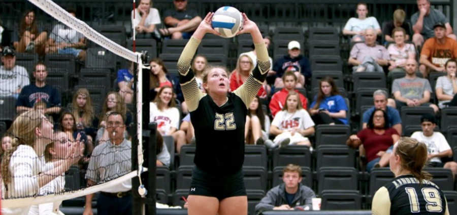 Lindenwood volleyball player Ivy Reynolds (#22) sets the ball for Sadie Kosciuk (#19) in Hyland Arena.  Photo by Don Adams Jr.