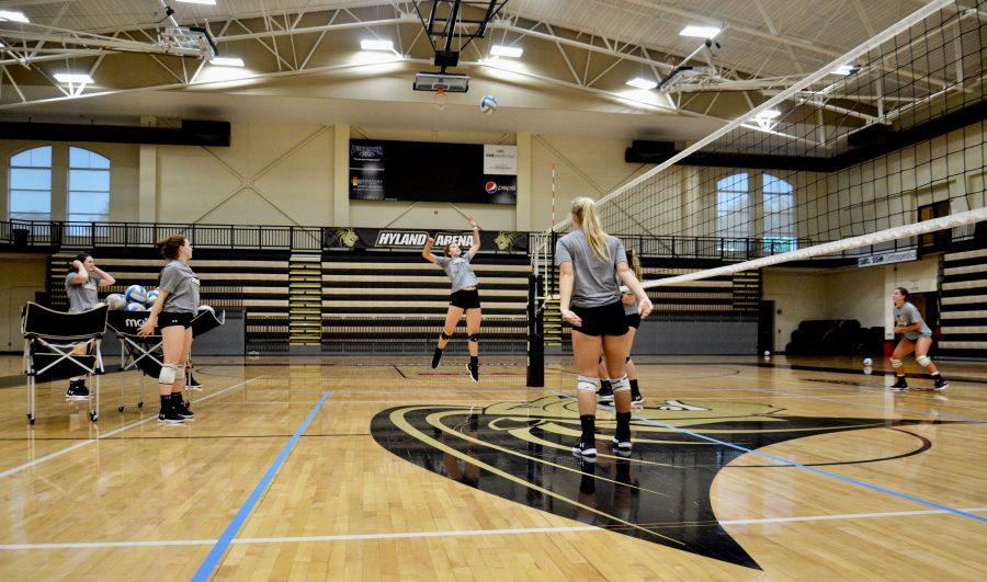 Lindenwood volleyball player Makenna Schmitt hits a ball in practice at Hyland Arena. Photo by Rolando Dupuy