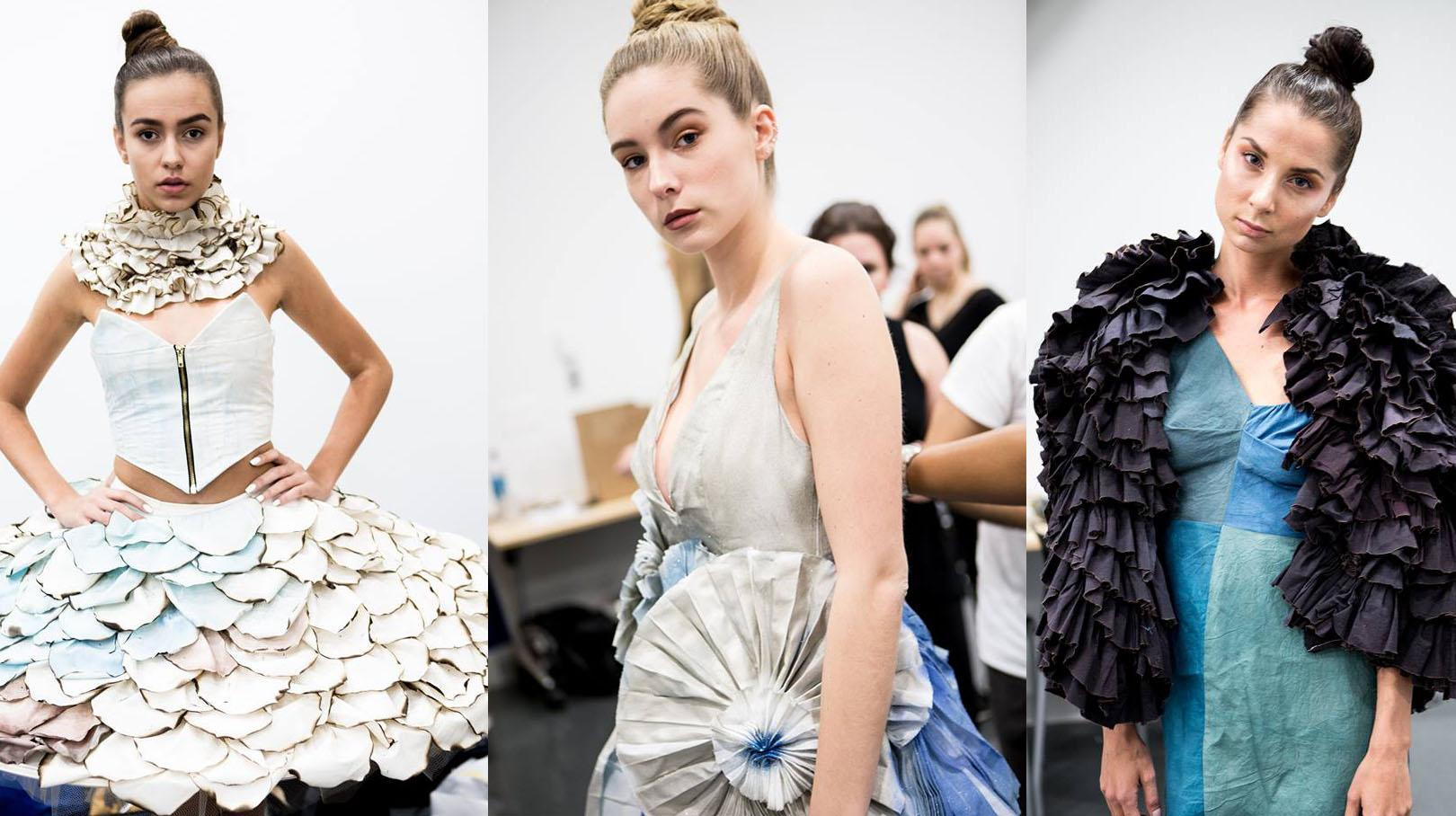 Above is a sneak peek of the garments that are going to be in the TEDx fashion show, all of the pieces are designed by Lindenwood students. From left, designed by Anna Heinold, designed by Linda Nichols and designed by Rachel Jagust. Photos by BiBi Photography.