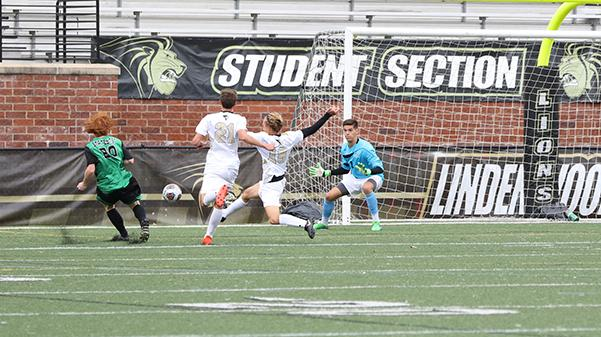 Goalie Tim Licht saves a shot from Peyton Marter, No. 20 of Delta State in the Lions' 2-0 win on Oct. 11. Photo by Kyle Rhine