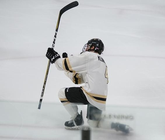 Sophomore forward Jordan Klimovsky celebrates after scoring a goal against the University of Illinois on Oct. 27 at the Wentzville Ice Arena. Lindenwood won the game 4-3 in shootouts. <br> Photo by Mitchell Kraus.