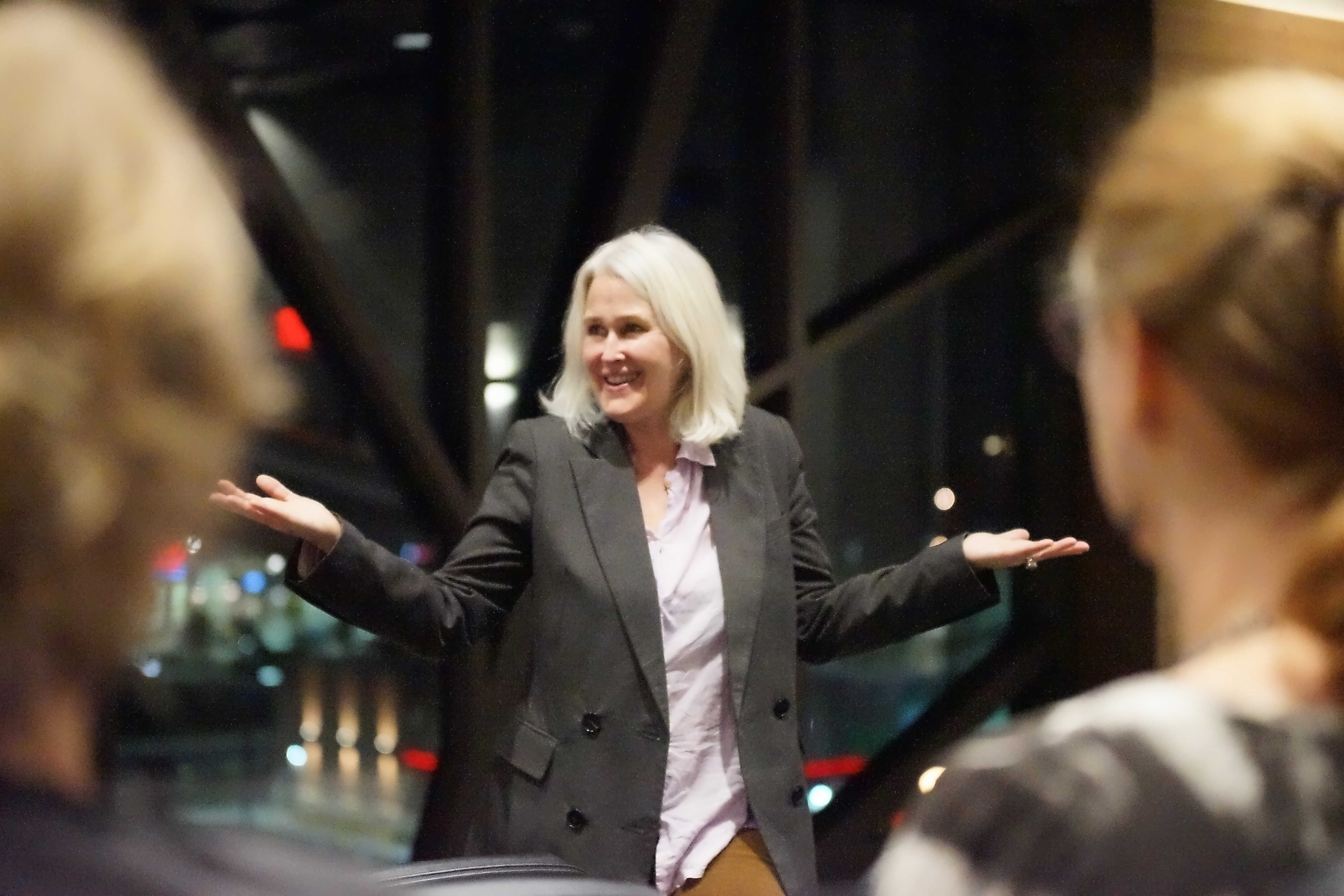 Filmmaker Dana Weidman presents her film at Lindenwood University on Thursday, Nov. 2.  Photo by Mitchell Kraus