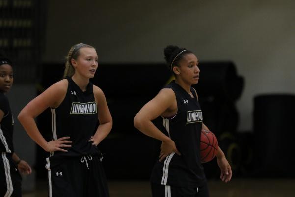Kallie Bildner (left) and Gabby Walker in practice fresh off a 13-point win over undefeated University of Illinois - Springfield. Photo by Walker Van Wey