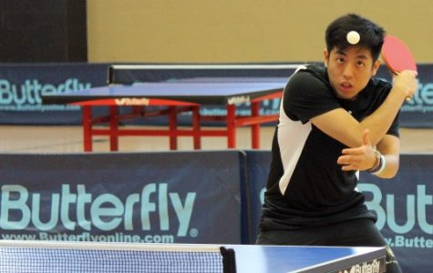 Joaquin Kanashiro serves late in Saturday's matches in Hyland Arena. <br>Photo by Walker Van Wey</br>