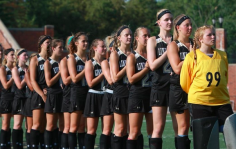 In a file photo from 2017, the Lindenwood women's field hockey team stands for the national anthem during a game at Hunter Stadium. <br /> Photo by Don Adams Jr.