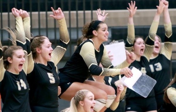 Lindenwood volleyball players celebrate at Hyland Arena. The Lions won their 20th game of the season on Friday. Lindenwood will play in their first ever MIAA conference tournament game on Tuesday. <br> Photo by Don Adams Jr