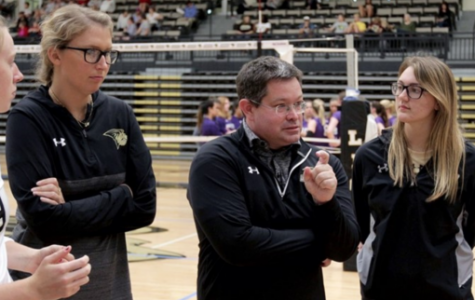 Lindenwood women's volleyball head coach Will Condon addresses his team in Hyland Arena. The Lions finished their most successful season in NCAA history this year, it was Condon's first year in charge. <br> Photo by Don Adams Jr.