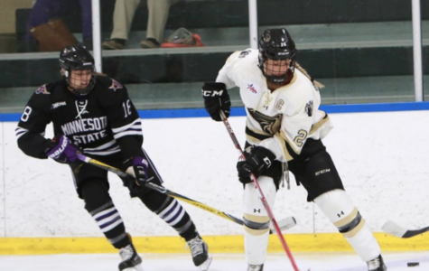 Lindenwood women's hockey player Britannia Gillanders competes for the puck against Minnesota State on Sept. 30 at the Lindenwood Ice Arena. <br> Photo by Don Adams Jr.