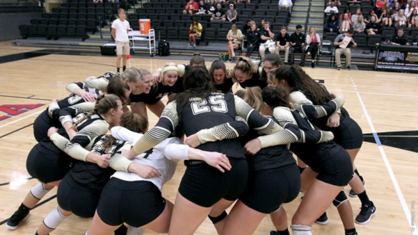 In a file photo from 2017, Lindenwood women's volleyball prepares for a home game at Hyland Arena.  Photo by Don Adams Jr.