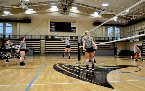 This file photo shows Lindenwood women's volleyball players hit the ball during practice at Hyland Arena. The Lions defeated conference foe Washburn on Saturday. <br> Photo by Rolando Dupuy.