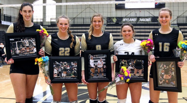 Lindenwood seniors on Senior Day, from left to right: Emily Wylie, Ivy Reynolds, Jess Krygsheld, Megan Hellwege and Alex Dahlstrom. Wylie and Hellwege were named first team All-MIAA. Reynolds and Dahlstrom were named All-MIAA honorable mention.   Photo by Don Adams Jr.