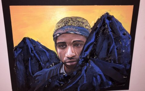 A piece by Parkway South High School student Anna Brackett, titled Malik in the Mountains. Brackett's teacher, Nora Olive, was also credited. Photo by Madeline Raineri.