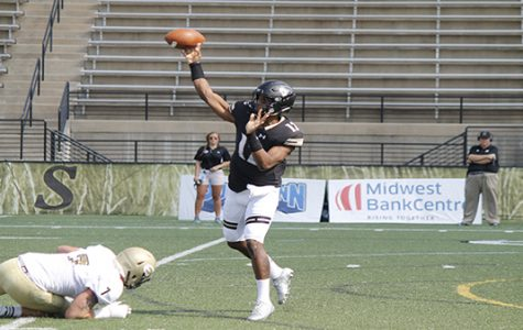 In a file photo from 2017, Quarterback Najee Jackson throws a pass vs. Emporia State. Jackson threw for 180 yards and two touchdowns and rushed for a touchdown on Oct. 14 in Lindenwood's  37-17 win. <br> Photo by Maria Escalona