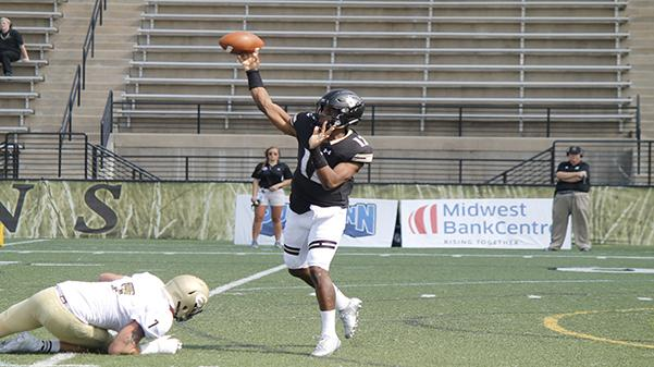 In+a+file+photo+from+2017%2C+Quarterback+Najee+Jackson+throws+a+pass+vs.+Emporia+State.+Jackson+threw+for+180+yards+and+two+touchdowns+and+rushed+for+a+touchdown+on+Oct.+14+in+Lindenwood%27s++37-17+win.+%0APhoto+by+Maria+Escalona