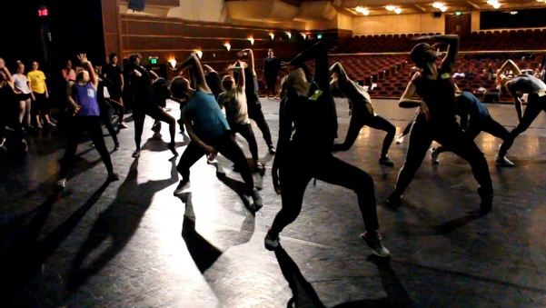 Prospective students dance to a hip-hop routine for High School Dance Day. Almost 60 students from a dozen schools attended the workshop Friday.  Photo by Kayla Drake