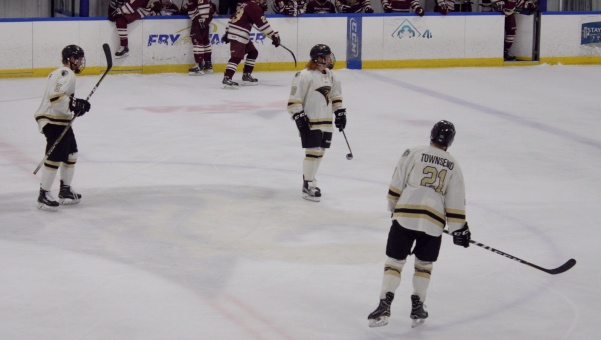 Number 5 Mitch Riese, 18 Cade Owad, and 21 Jake Townsend skate out for a shift during their game against the Robert Morris Eagles on Sunday, Nov. 5 at the Wentzville Ice Arena. Townsend had an assist in the previous night's game.  Photo by Madeline Raineri.
