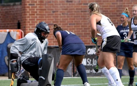 In a file photo from 2017, Lindenwood field hockey goalie Skylar Starbeck makes a save during a game against the Mercy College Mavericks. <br />Photo by Don Adams Jr.