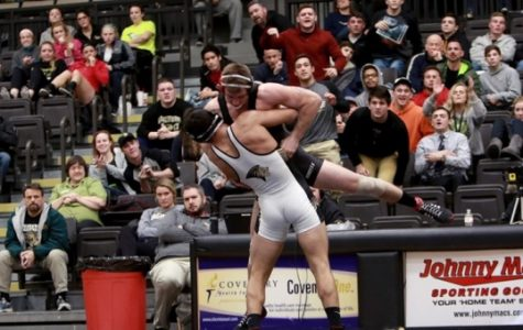 Lindenwood wrestler Kyle Jolas picks up and slams his opponent in Hyland Arena. Lindenwood will host the Lindenwood Open this weekend.  Photo by Don Adams Jr.