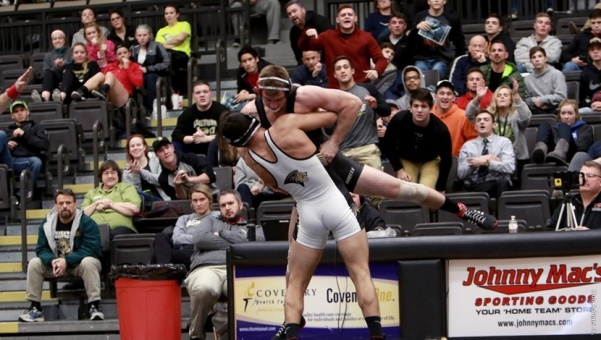 Lindenwood+wrestler+Kyle+Jolas+picks+up+and+slams+his+opponent+in+Hyland+Arena.+Lindenwood+will+host+the+Lindenwood+Open+this+weekend.++Photo+by+Don+Adams+Jr.