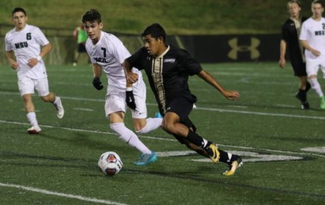 Gabriel Jaimes, No. 10, dribbles up the field during the Lions' 1-0 win against Northeastern State University on Sunday, Nov. 5, at Harlen C. Hunter Stadium.  Photo by Kyle Rhine