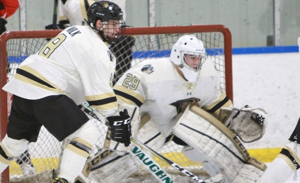 Lindenwood's second game against the Ice Bears on Saturday, Nov. 11 saw heavy scoring from the Lions. Austin Wilk (left) assisted two of the four goals of the game and Lindenwood senior goalie Michael Hails finished the game with a shutout.  Photo by Don Adams Jr.