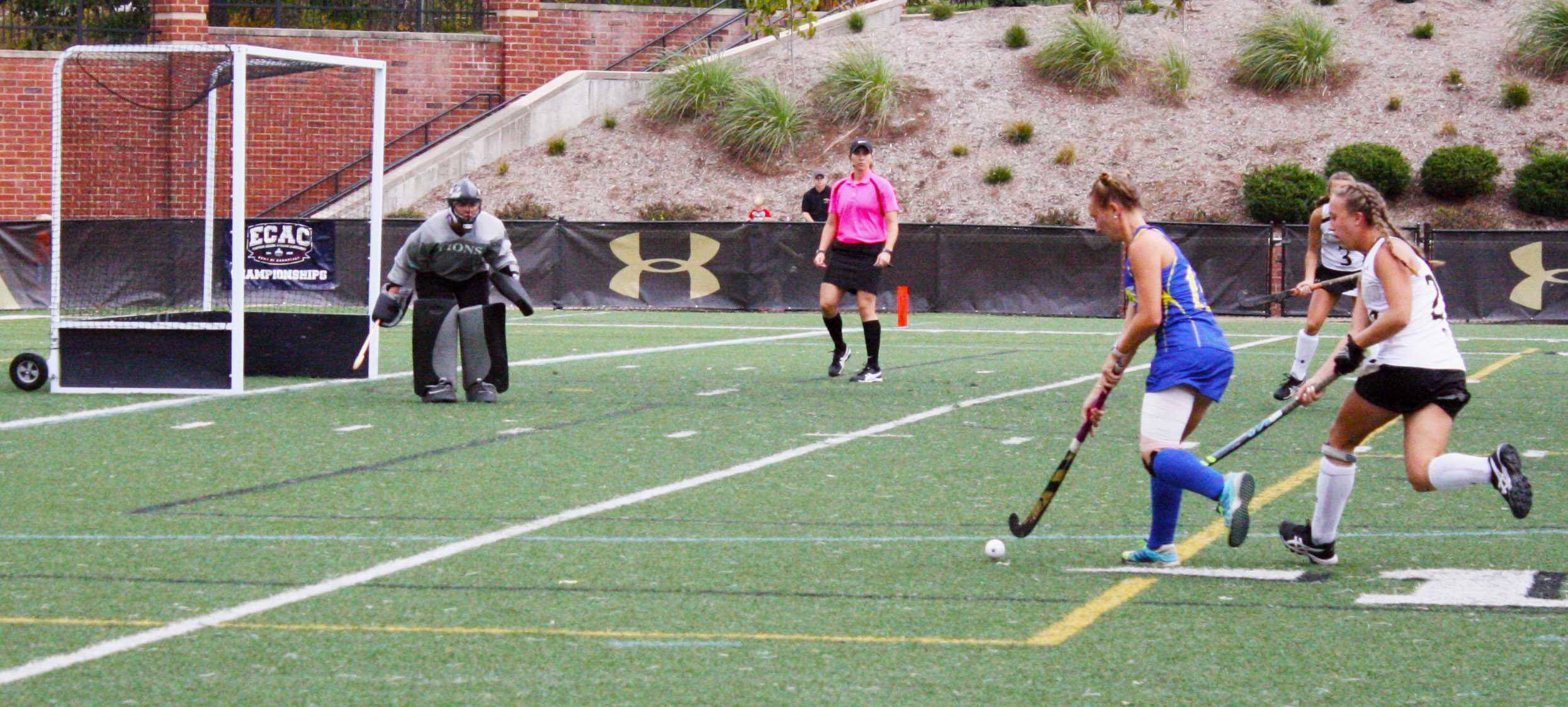 File photo: Field hockey goalie Skylar Starbeck looks to make a save in the ECAC championship game against Limestone College on Sunday, Nov. 5, 2017 at the Harlen C. Hunter Stadium. Photo by Madeline Raineri.