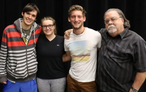 This semester has been the smallest cinema arts capstone to date. From left: Brenton Griffith, Victoria Wolk, Valentin Merlet and Professor Peter Carlos.  Not pictured: Lexy Kadey.<br> Photo taken by Kayla Drake </br>