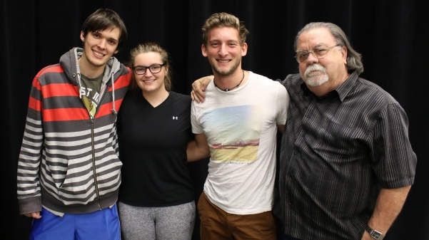 This semester has been the smallest cinema arts capstone to date. From left: Brenton Griffith, Victoria Wolk, Valentin Merlet and Professor Peter Carlos.  Not pictured: Lexy Kadey. Photo taken by Kayla Drake