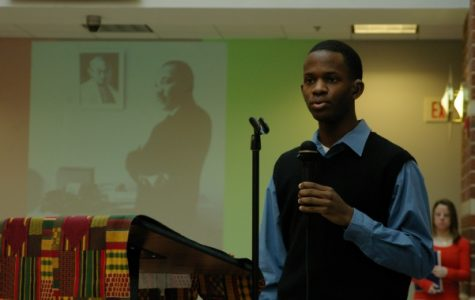 A member of the Black Student Union gives a speech about MLK in 2009 at Lindenwood University. <br> Photo from the Mary Ambler Archives. </br>
