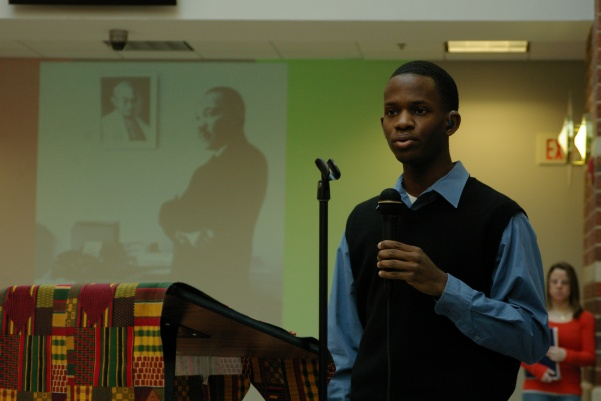 A+member+of+the+Black+Student+Union+gives+a+speech+about+MLK+in+2009+at+Lindenwood+University.++Photo+from+the+Mary+Ambler+Archives.+