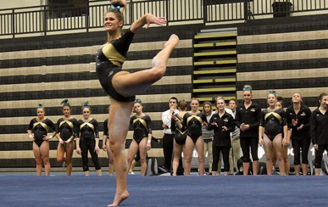 Lindenwood gymnast Breanna Franklin performs her floor routine at the team's home opener on Jan. 19. Franklin scored a 9.8 in the floor competition.  The Lions finished first with a total of 194.5 points in the tri-meet against University of Alaska-Anchorage and Centenary College.  <br> Photo by Michelle Sproat </br>