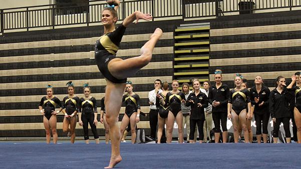 Lindenwood gymnast Breanna Franklin performs her floor routine at the team's home opener on Jan. 19. Franklin scored a 9.8 in the floor competition.  The Lions finished first with a total of 194.5 points in the tri-meet against University of Alaska-Anchorage and Centenary College.   Photo by Michelle Sproat