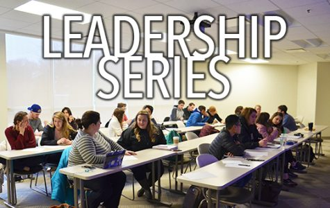 The Fall 2018 Leadership series occurs every Tuesday in Evans Commons 3020 at 4 p.m.<br> Graphic by Andria Graeler <br > Photo by Rolando Dupuy
