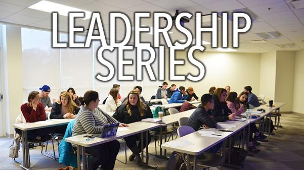 The Fall 2018 Leadership series occurs every Tuesday in Evans Commons 3020 at 4 p.m. Graphic by Andria Graeler  Photo by Rolando Dupuy