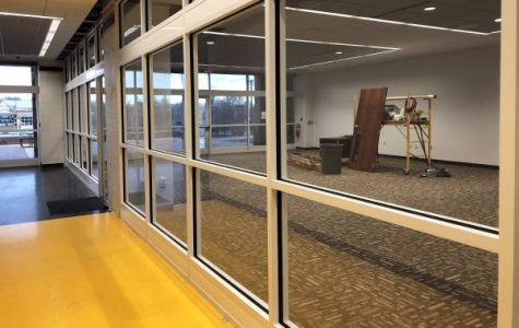 The new Spellmann Computer Lab will be located on the first-floor of Spellmann, replacing what was previously the ROTC offices on campus. The lab is expected to be completed by the end of this week. <br> Photo by Madeline Raineri.