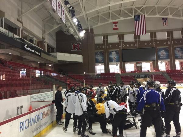 Lindenwood%27s+D2+men%27s+ice+hockey+team+on+the+ice+at+Goggin+Arena+in+Oxford%2C+Ohio%2C+for+practice+before+their+games+on+Jan.+26+and+27.+The+Lions+won+both+games+in+the+second+annual+Miami+University+showcase.++Photo+used+with+permission+from+%40rivermen123.+