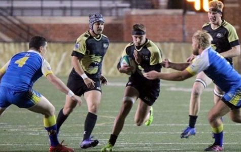 Members of the Lindenwood men's rugby team try to break through the University of Delaware's defense during a home game on Nov. 11. The Lions defeated Delaware 83-0. The team heads to Clemson, South Carolina on Feb. 3 to take on Clemson University University. <br>Photo from Lindenwood Lions Student Life Sports.</br>