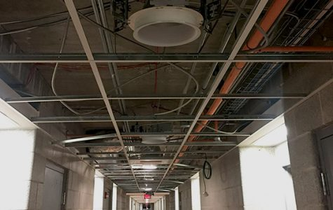 Ceiling tiles are currently being replaced throughout all floors in Mathews Hall and repairs are estimated to be completed by the end of this week. Photo by Dom Kolbeins.