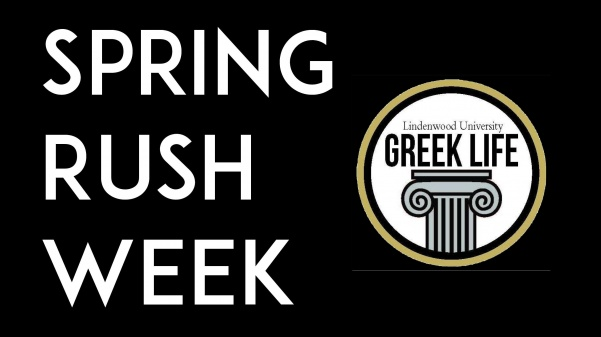 From Jan. 22-26, all fraternities on campus will be hosting Rush Week where interested men can go to events to be recruited.  Graphic by Kayla Drake, Logo used with permission from Lindenwood Greek Life Facebook page.