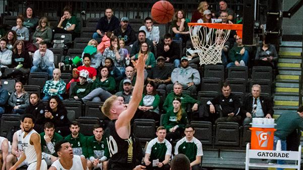 Chandler Diekvoss goes for a layup during Lindenwood's game against the Northwest Missouri State Bearcats on Feb. 22. Lindenwood fell to the Bearcats 67-60.  Photo by Andria Graeler.