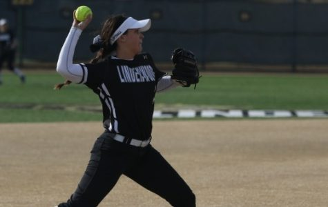 Lindenwood's Caitlyn Touchette makes an out at third base during the second game of a doubleheader against Quincy University.  <br> Photo by Michelle Sproat. </br>