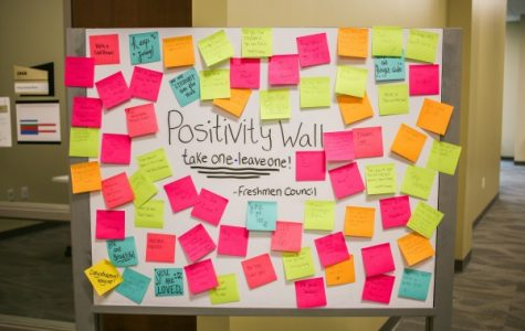 This positivity wall in the LARC is one of many ways the Freshmen Council is trying to spread #Lindenlove on campus.  Photo by Tyler Keohane