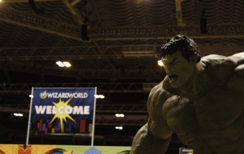 A statue of the Incredible Hulk at the entrance of the Wizard World Comic Con in St. Louis.   <br> Photo by Matt Hampton
