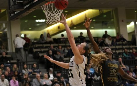 In a file photo from February 2018, forward Kallie Bildner scores a layup in the Lions' win over Missouri Western.  Photo by Kyle Rhine